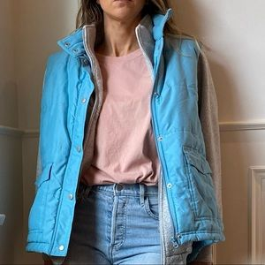 Vintage Cotton Ginny Blue Puffer Vest Medium